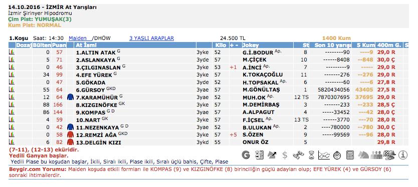 14 Ekim 2016 Cuma İzmir at yarışı bülteni ve tahminleri