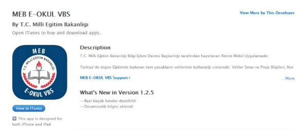 e-OKUL VELİ BİLGİLENDİRME SİSTEMİ e-OKUL VBS iOS İNDİR