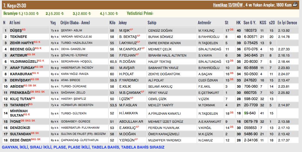26 Mart 2018 Pazartesi Şanlıurfa at yarışı bülteni ve tahminleri