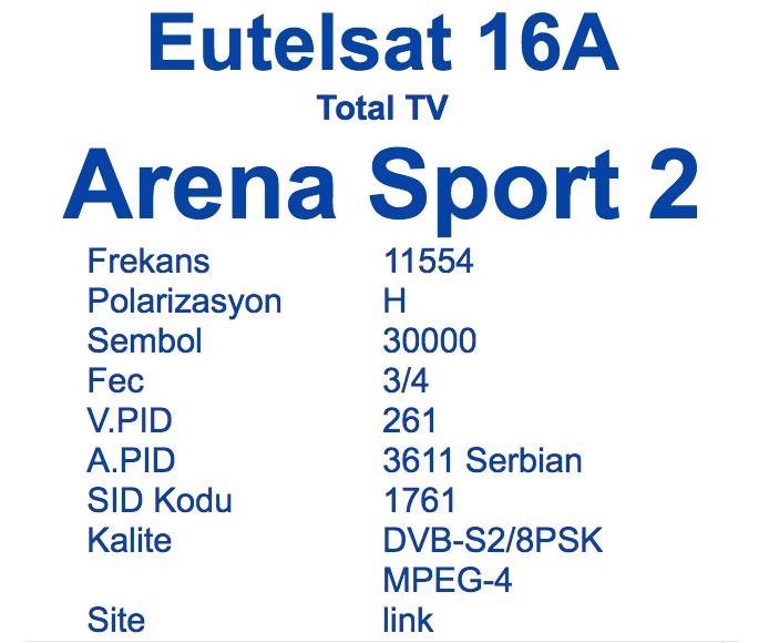 arena sport 2 uydu frekansı