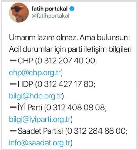 Fatih Portakal Twitter seçim sonuçları