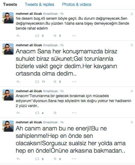 Nazlı Ilıcak'ın oğlu Mehmet Ali Ilıcak'tan annesine isyan