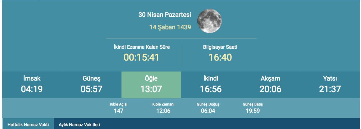 2018 Imsakiye Istanbul Iftar Vakti Aksam Ezani Kacta