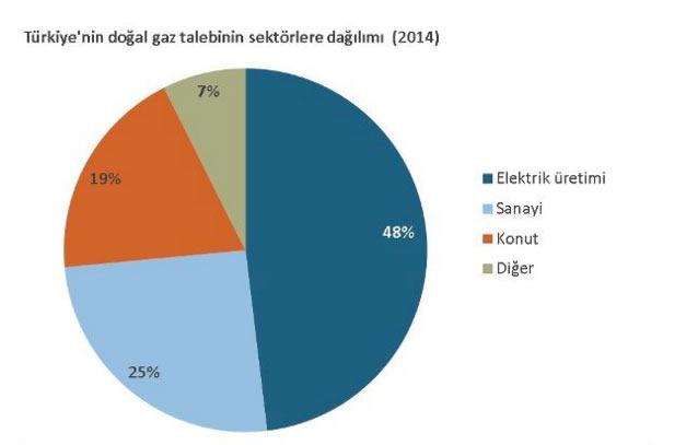 Türkiye doğalgaz kullanım alanları ve oranları grafiği