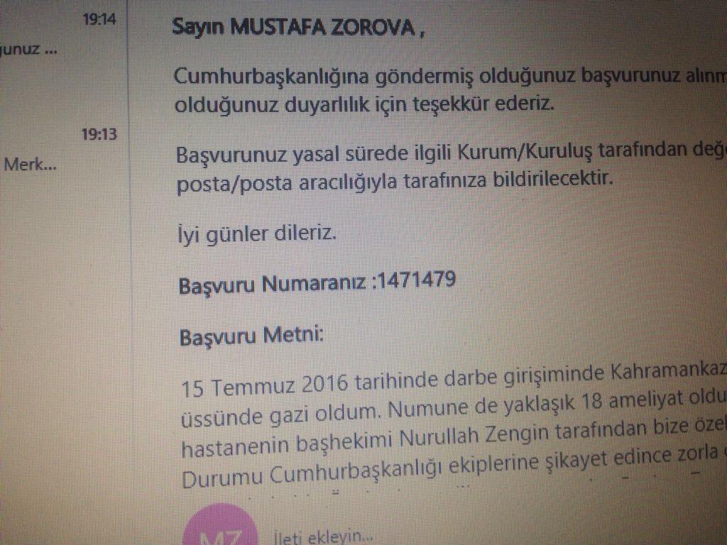Gazi Mustafa Zorova'nın Cimer'e yaptığı şikayet başvurusu