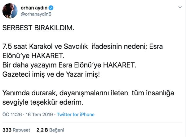Gözaltına alınan Orhan Aydın serbest bırakıldı! Sebebi Esra Elönü çıktı - Sayfa 3
