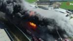 Arnavutköy'de kimyasal fabrikasında yangın havadan görüntülendi