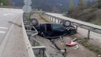 Karabük'te yoldan çıkan otomobil takla atarak refüje düştü