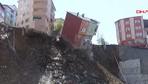 Kağıthane'de bina çökme anı