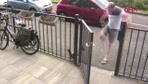 Bahçedeki kediye önce köpeği, sonra kendisi saldırdı