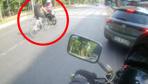 Beşiktaş'ta feci kaza kamerada! Motosikletle bisiklet sürücüsü çarpıştı