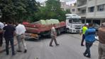 Ankara'da freni boşalan TIR, park halindeki 5 araca çarptı