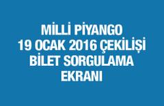 Milli Piyango çekiliş sonuçları bilet sorgulama 19 Ocak 2016