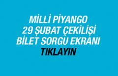Milli Piyango 29 Şubat 2016 çekilişi bilet sorgulama ekranı