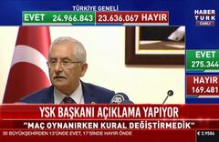 YSK Başkanı: Maç oynanırken kural değiştirmedik