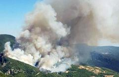 Muğla'da kontrol altına alınamayan dev yangından görüntüler