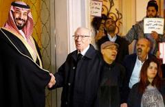 """Tunus'ta Bin Selman'a protestolar eşliğinde """"hoş"""" karşılama"""