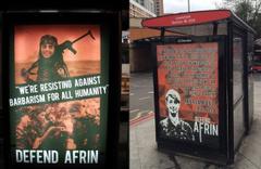 İngiltere'de skandal görüntü! YPG'li terörist reklamı...
