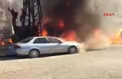 Elektirik trafosu patladı araçlar cayır cayır yandı