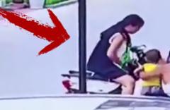 Aniden yaşandı! Kadının kucağındaki çocukla kaza anı kamerada