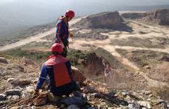 Bursa'da uçuruma düşen keçiyi AFAD kurtardı