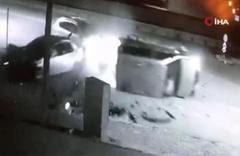 Konya'da İki aracın kafa kafaya çarpıştığı anlar kamerada