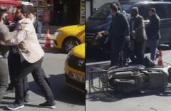 İstanbul'da taksici dehşeti: Çarptığı motosikletliye bıçak çekti!