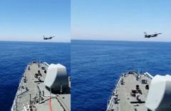 F-16 savaş uçağı Doğu Akdeniz'deki Fatih Sondaj Gemimisi selamladı