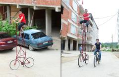 Giresunlu gencin 4 metrelik bisikletini gören şaştı kaldı