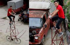 Giresun'da çırak Hamza Yıldırım'ın sıra dışı bisikleti