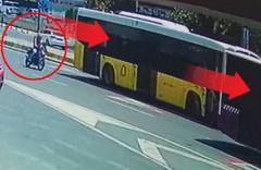 Şişli'de otobüsün altında dehşet anları