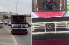 Rusya'da olay olan adam hayalindeki cipi kartonla yaptı üstüne bir de trafiğe çıktı