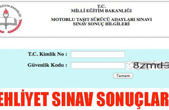 Ehliyet sonuçları sınav bilgisi ekranı