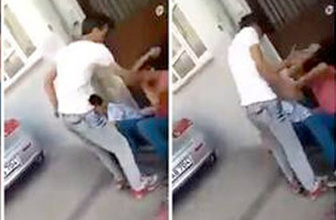 Bursa'da korkunç görüntüler iki çocuğu yere yatırıp...