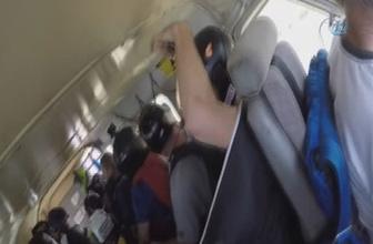 17 paraşütçünün bulunduğu uçağın kaza anı kamerada