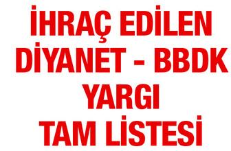 İhraç edilen Diyanet - TRT - BBDK - Başbakanlık listesi