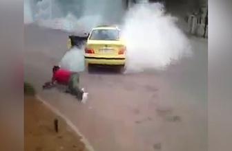 Drift yaparken arabadan düşen adam