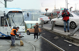 Sirkeci'de aynı yerde ikinci kez tramvay raydan çıktı