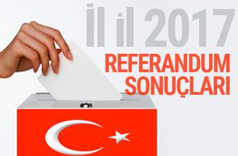 2017 Referandum sonuçları il il evet hayır oy oranları