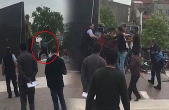 Atatürk anıtına baltayla saldırdı linçten zabıta kurtardı!
