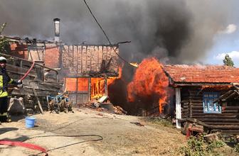 Çıkan yangında köyün yarısı kül oldu