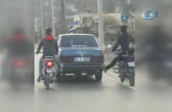 Arıza yapan otomobile 'ayaklı' destek