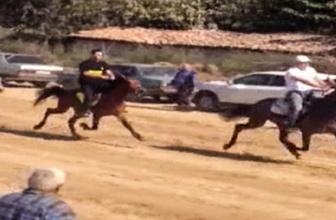 Atların ilginç çarpışması kamerada
