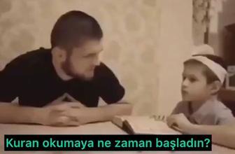 Herkes bunu izliyor! Şampiyon boksör Khabib'in Kur'an dersi