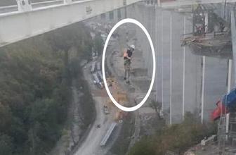 Kiriş yıkıldı işçi havada asılı kaldı! Ölümle burun buruna geldi