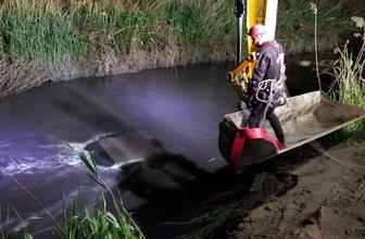 Nehre düşen otomobilin tavanına çıktı