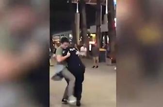 Polisin karşısına çıkıp böyle saldırdı