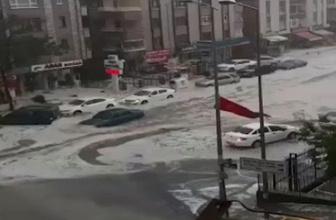Ankara'da şiddetli yağış! Her yer bembeyaz oldu