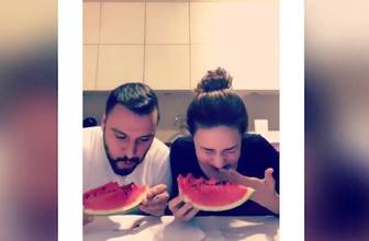 Alişan ve Buse Varol'dan kahkahaya boğan karpuz yeme yarışması