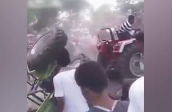 Traktörlerin düellosunda dehşete düşüren kaza!
